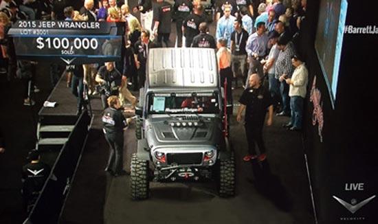 Personalizado con productos Rugged Ridge y construido por DUB Garage, el Omix-ADA SEMA Cares Jeep JK se vendió por $ 100,000 en la subasta de Barrett-Jackson en Scottsdale, Arizona, en Febrero 2016