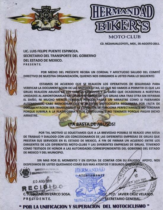 Carta petición de mesas de debate, para llegar a un acuerdo con autoridades del Estado de México