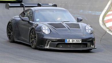 Photo of Porsche 911 GT3 RS atrapado en pruebas con un ala masiva en el ring